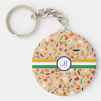 Indian cultural items with flag and monogram basic round button keychain
