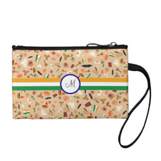 Indian cultural items with flag and monogram coin purse