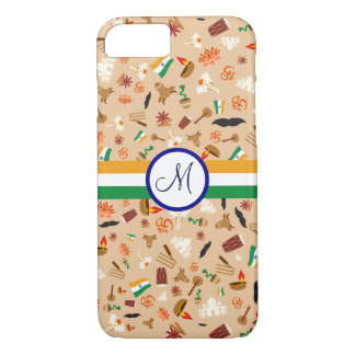 Indian cultural items with flag and monogram iPhone 8/7 case