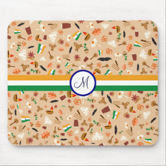 Indian cultural items with flag and monogram mouse pad