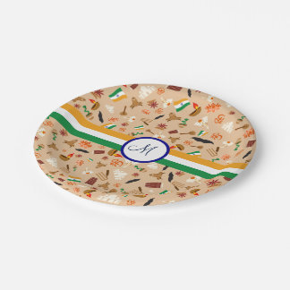 Indian cultural items with flag and monogram paper plate