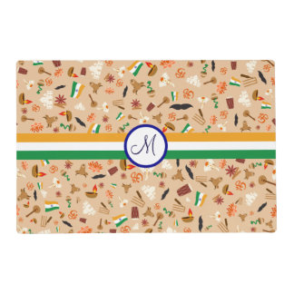 Indian cultural items with flag and monogram placemat