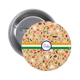 Indian cultural items with flag and text button