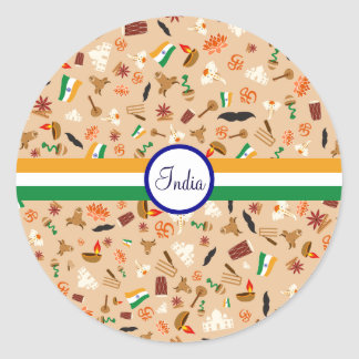 Indian cultural items with flag and text classic round sticker