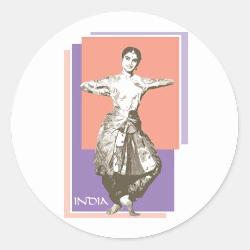 Indian Dancer Classic Round Sticker
