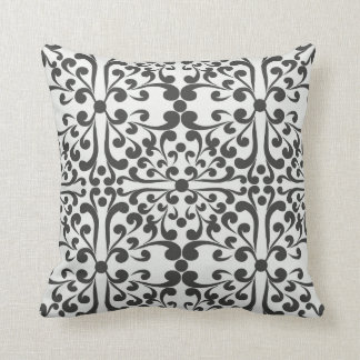 Indian Decorative motif in black and white Throw Pillow