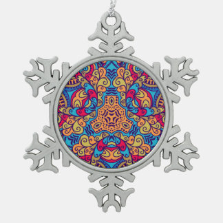 Indian Dream Kaleidoscope Snowflake Pewter Christmas Ornament