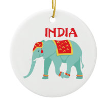 Indian Elephant Ceramic Ornament
