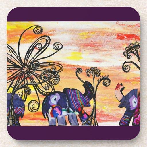 Indian Elephant Cork Coasters