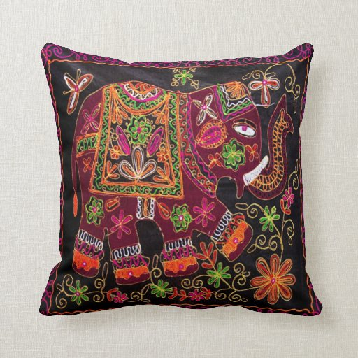 Indian Elephant Embrodery Look Cushion Throw Pillows