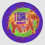 Indian Elephant Envelope Seal Classic Round Sticker