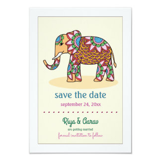 Indian Elephant Save the Date Announcement