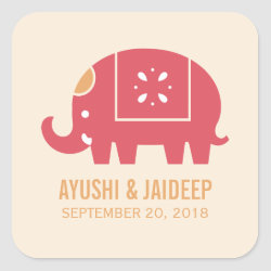 Indian Elephant Square Sticker