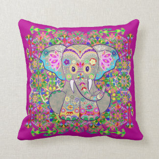 Indian Elephant Throw Pillow