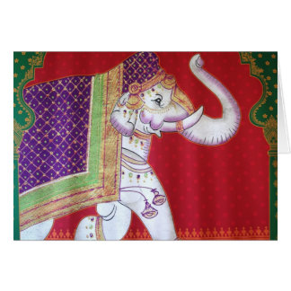 Indian elephant traditional art greeting card