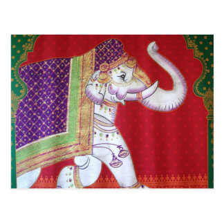 Indian elephant traditional art postcard