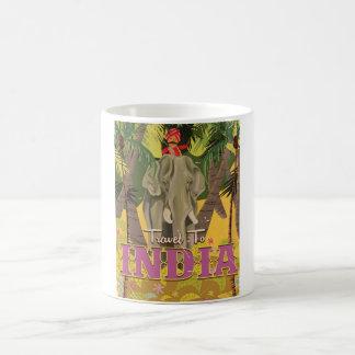 indian elephant vintage travel poster coffee mug