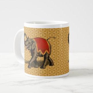 Indian Elephant w/Red Cloth 20 Oz Large Ceramic Coffee Mug