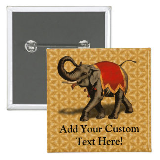 Indian Elephant w/Red Cloth 2 Inch Square Button