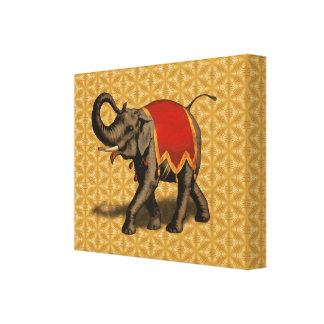 Indian Elephant w/Red Cloth Canvas Prints