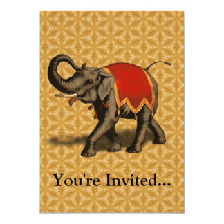 Indian Elephant w/Red Cloth Card