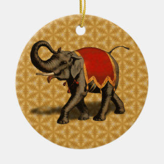 Indian Elephant w/Red Cloth Ceramic Ornament