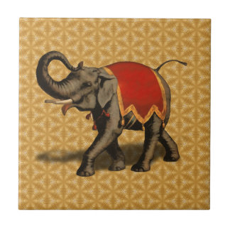 Indian Elephant w/Red Cloth Ceramic Tile