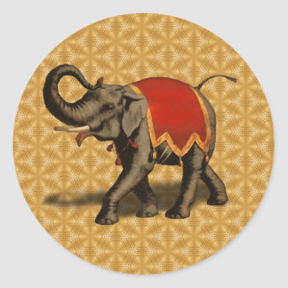 Indian Elephant w/Red Cloth Classic Round Sticker