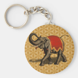 Indian Elephant w/Red Cloth Keychain