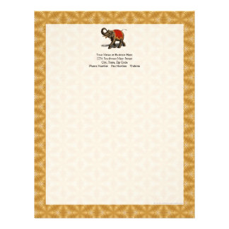 Indian Elephant w/Red Cloth Letterhead