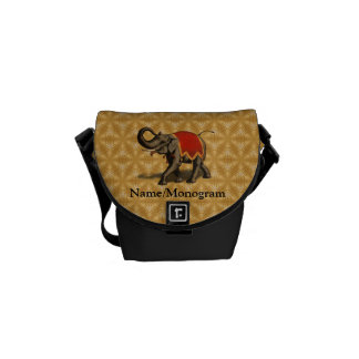 Indian Elephant w/Red Cloth Messenger Bag