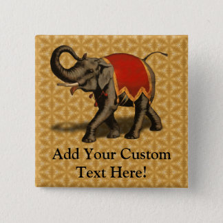 Indian Elephant w/Red Cloth Pinback Button