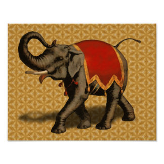 Indian Elephant w/Red Cloth Posters