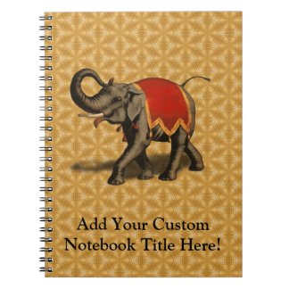 Indian Elephant w/Red Cloth Spiral Notebook