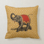 Indian Elephant w/Red Cloth Throw Pillow