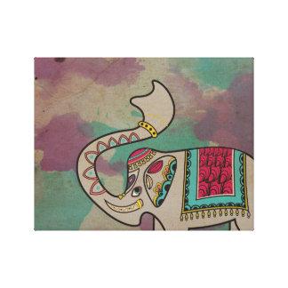 Indian Elephant Watercolor Canvas Print Wall Art