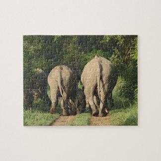 Indian Elephants on the jungle track,Corbett Jigsaw Puzzle