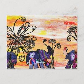 Indian Elephants Postcard postcard