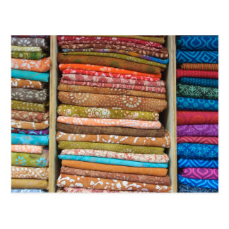 Indian Fabric for Sale at Market Postcard