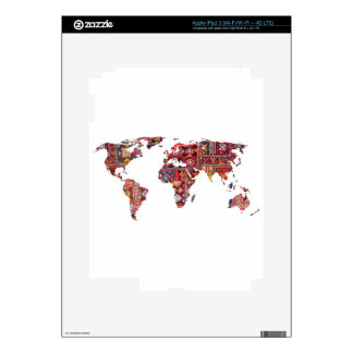 Indian Fabric Map Earth Patchwork Decals For iPad 3