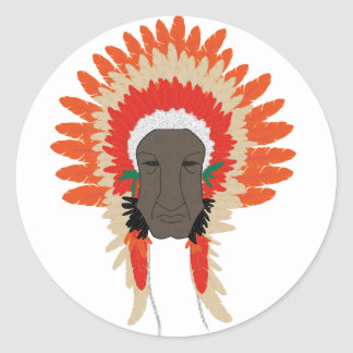 indian feathers face mask classic round sticker