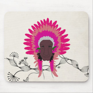 indian feathers face mask pink mousepads