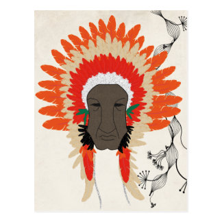 indian feathers face mask postcard