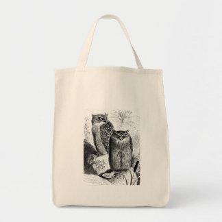 Indian Fishing Owls Vintage Wood Engraving Canvas Bag