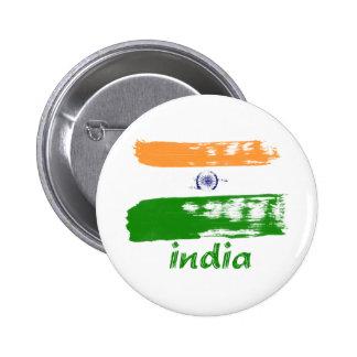 Indian Flag brush stroke design 2 Inch Round Button