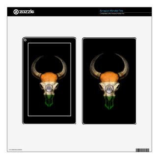 Indian Flag Bull Skull on Black Kindle Fire Decal