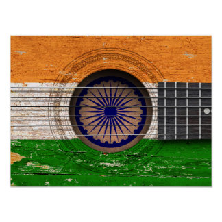 Indian Flag on Old Acoustic Guitar Poster