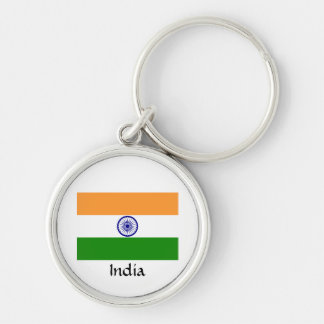 Indian flag Silver-Colored round keychain