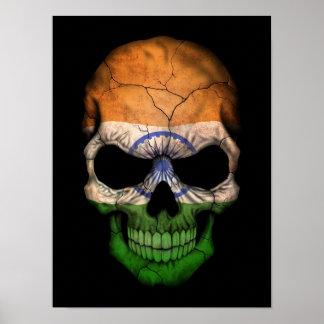 Indian Flag Skull on Black Poster