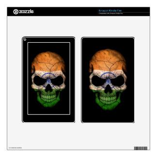 Indian Flag Skull on Black Skin For Kindle Fire
